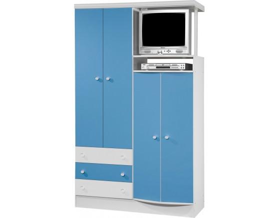 uarda-Roupa 4 Portas 3 Gavetas Com Nicho 833 Doce Magia Branco-Azul Qmovi