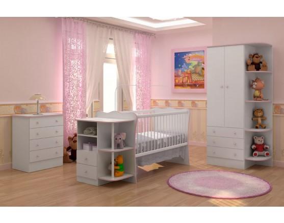 Jogo De Quarto Infantil Doce Sonho Branco/Branco/Rosa 2 Qmovi