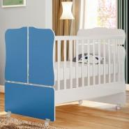 Berço Mini Cama Sonho Encantado 230 Branco/Azul Qmovi