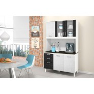 Kit Para Cozinha Fit 120CM Branco/Branco 3D/Preto 3D Nicioli