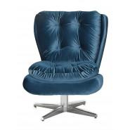 Poltrona Tolucci Decorativa Giratória Com Pés Estrela De Aluminio Veludo Brilho Azul 055 Ibiza