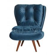 Poltrona Tolucci Decorativa Com Pés Palito De Madeira Veludo Brilho Azul 054 Ibiza