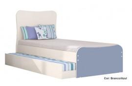 Cama De Solteiro Juvenil Doce Magia 220 Branco-Azul Qmovi
