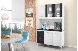 Kit Para Cozinha Fit Branco-Branco 3D-Preto 3D Nicioli
