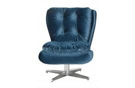 Poltrona Decorativa Giratória Tolucci Com Pés Estrela De Aluminio Veludo Brilho Azul 055 Ibiza