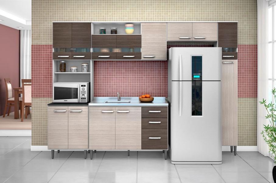 Cozinha Modulada Bruna II Branco/Amêndoa/Capuccino 5 Peças Poquema